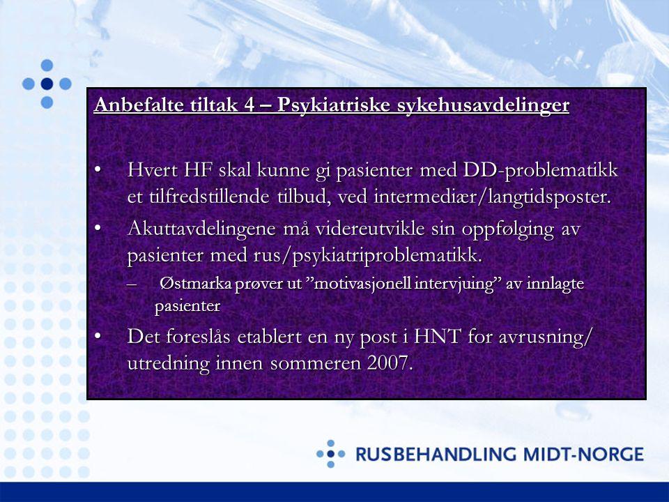 Anbefalte tiltak 4 – Psykiatriske sykehusavdelinger