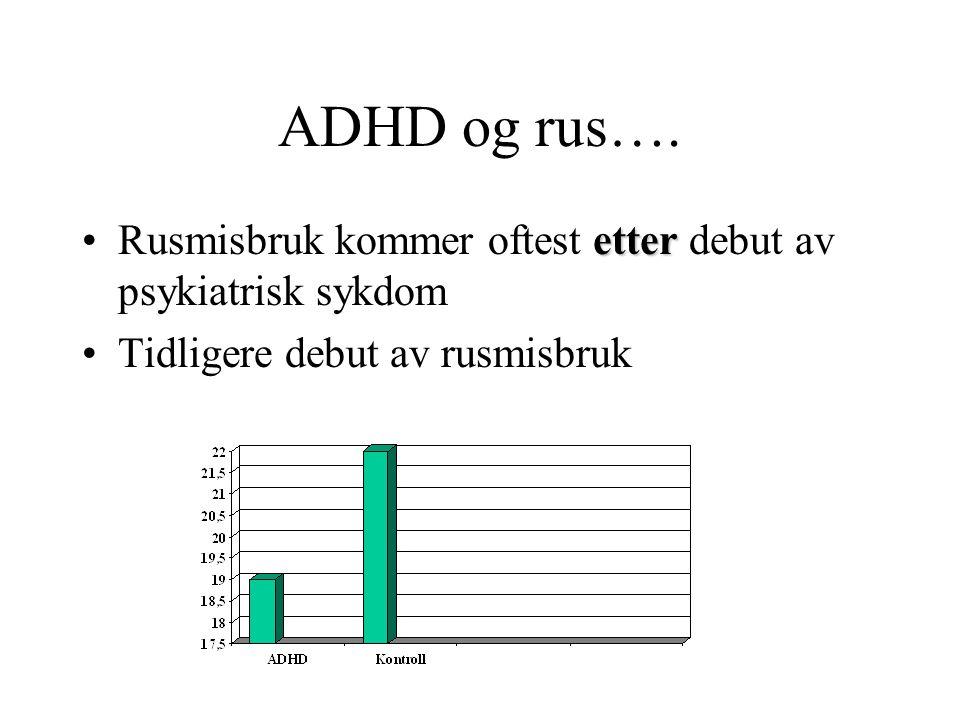 ADHD og rus…. Rusmisbruk kommer oftest etter debut av psykiatrisk sykdom.