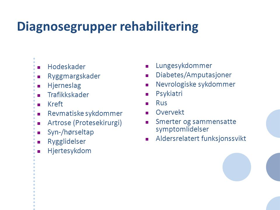 Diagnosegrupper rehabilitering