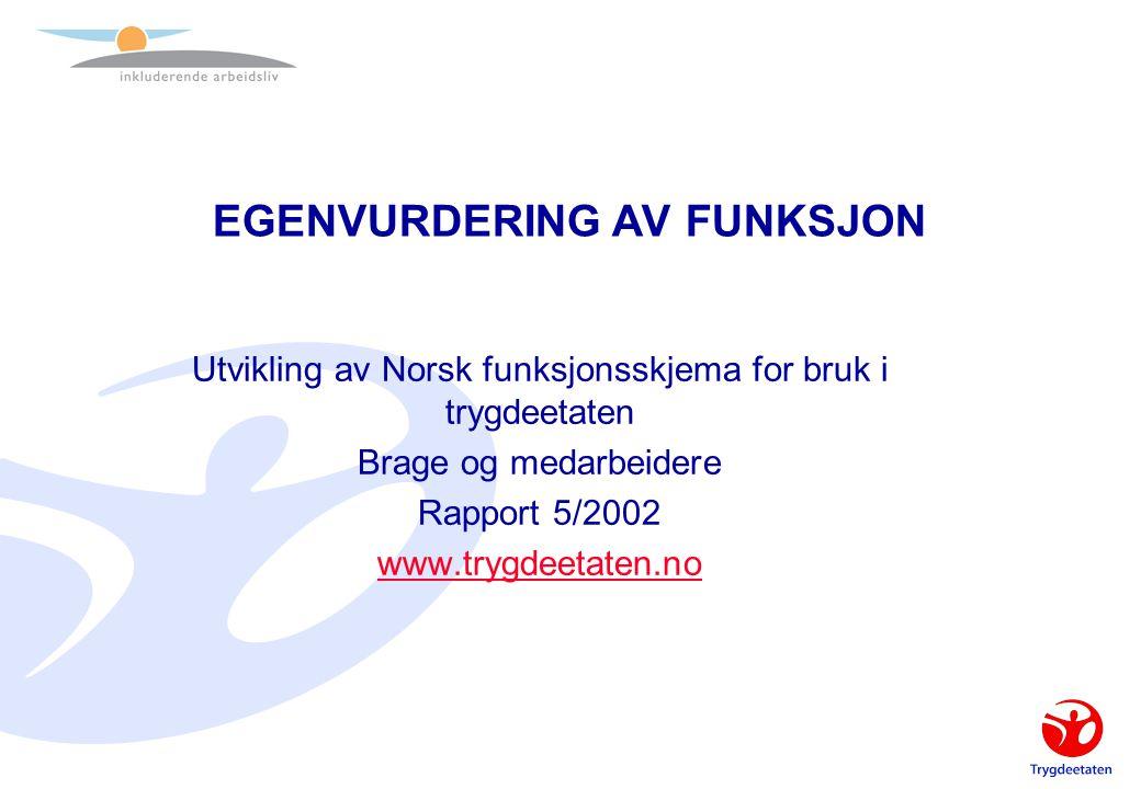 EGENVURDERING AV FUNKSJON