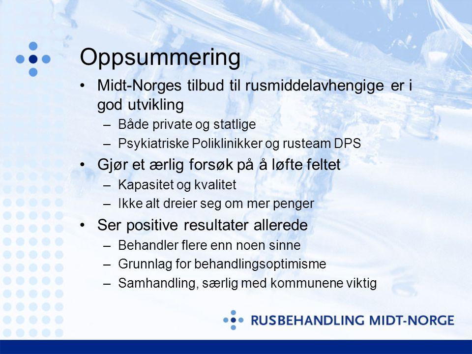 Oppsummering Midt-Norges tilbud til rusmiddelavhengige er i god utvikling. Både private og statlige.