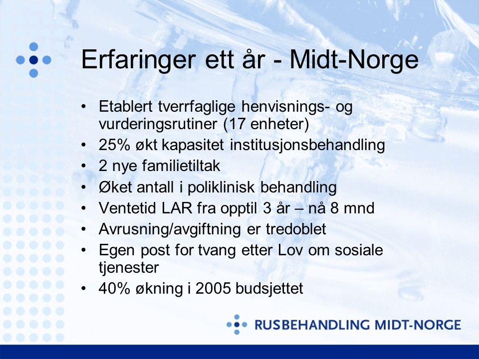 Erfaringer ett år - Midt-Norge