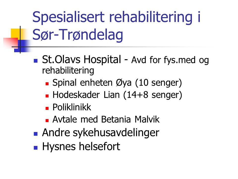 Spesialisert rehabilitering i Sør-Trøndelag