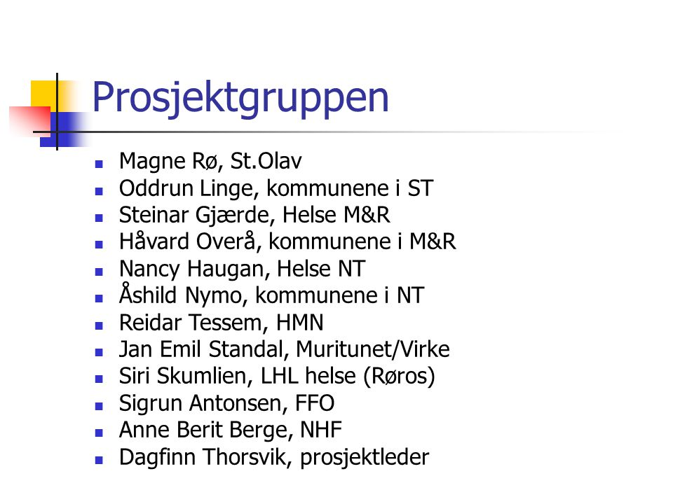 Prosjektgruppen Magne Rø, St.Olav Oddrun Linge, kommunene i ST