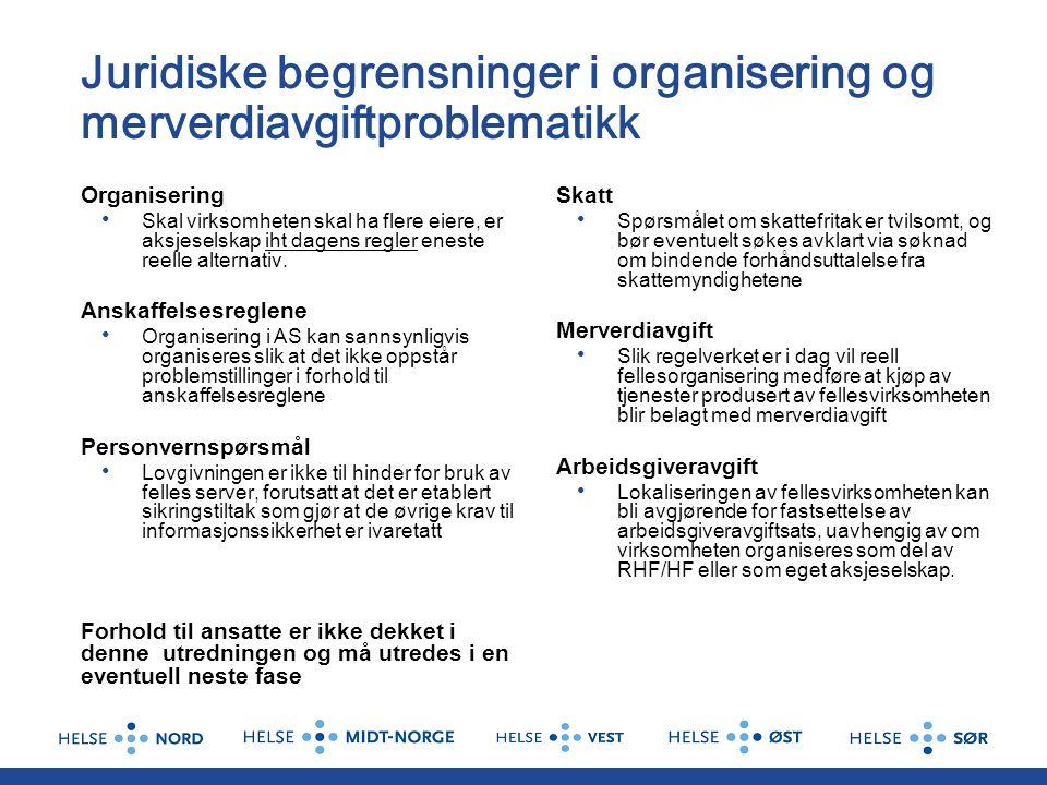 Juridiske begrensninger i organisering og merverdiavgiftproblematikk