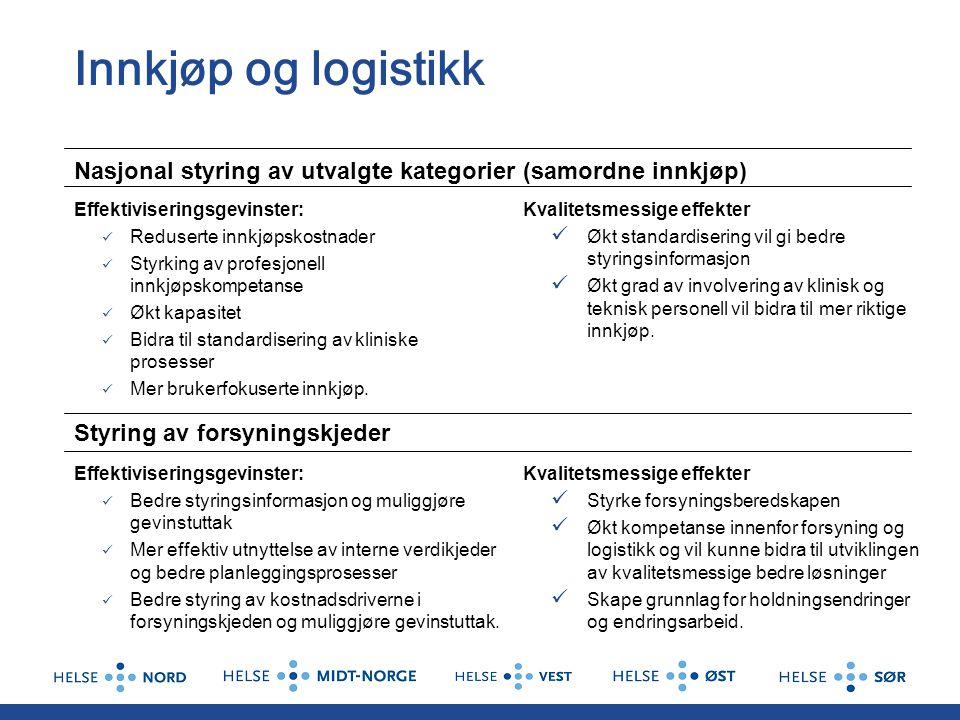 Innkjøp og logistikk Nasjonal styring av utvalgte kategorier (samordne innkjøp) Effektiviseringsgevinster: