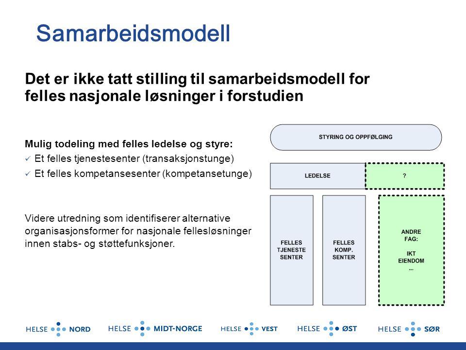 Samarbeidsmodell Det er ikke tatt stilling til samarbeidsmodell for felles nasjonale løsninger i forstudien.