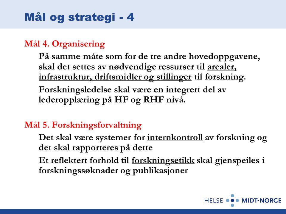 Mål og strategi - 4 Mål 4. Organisering
