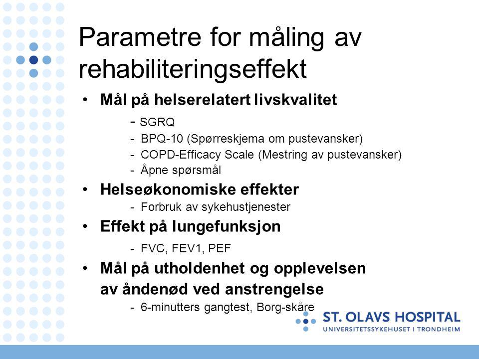 Parametre for måling av rehabiliteringseffekt