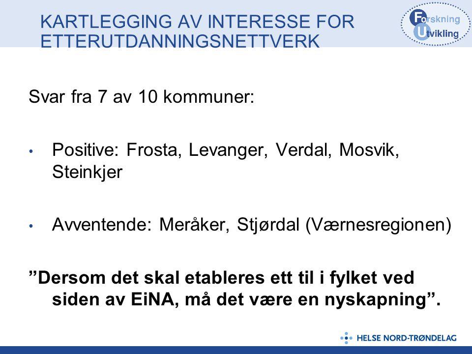 KARTLEGGING AV INTERESSE FOR ETTERUTDANNINGSNETTVERK