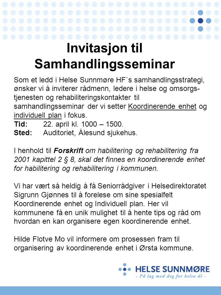 Invitasjon til Samhandlingsseminar