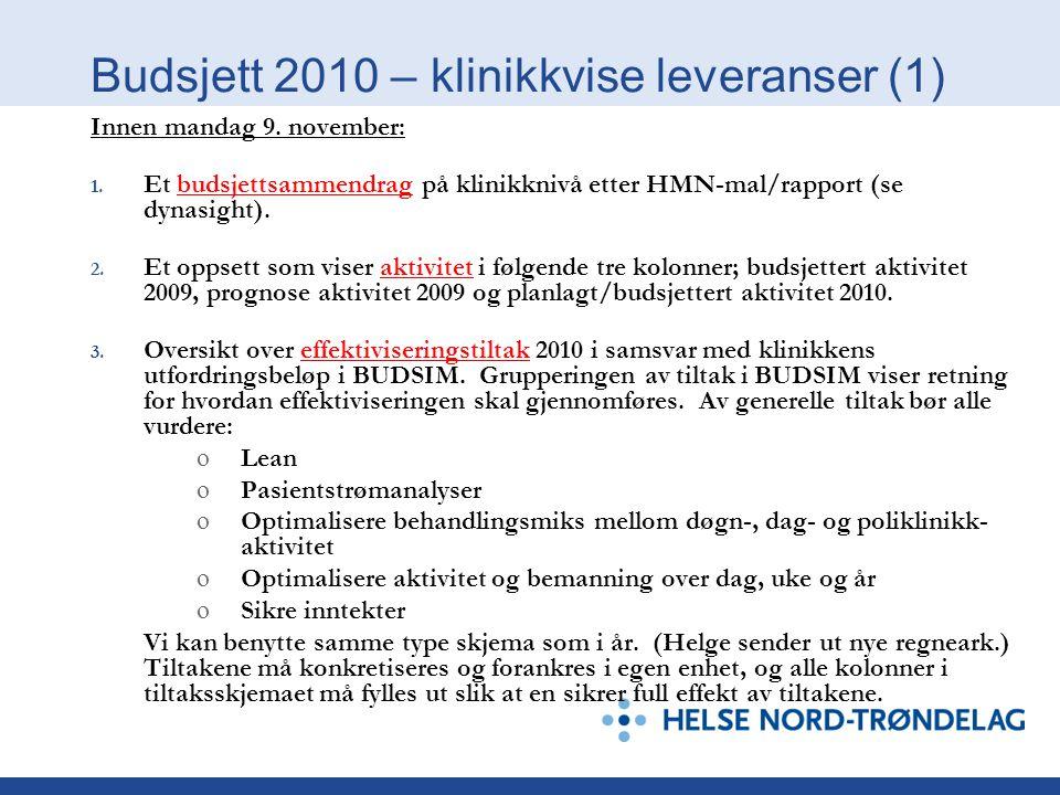Budsjett 2010 – klinikkvise leveranser (1)