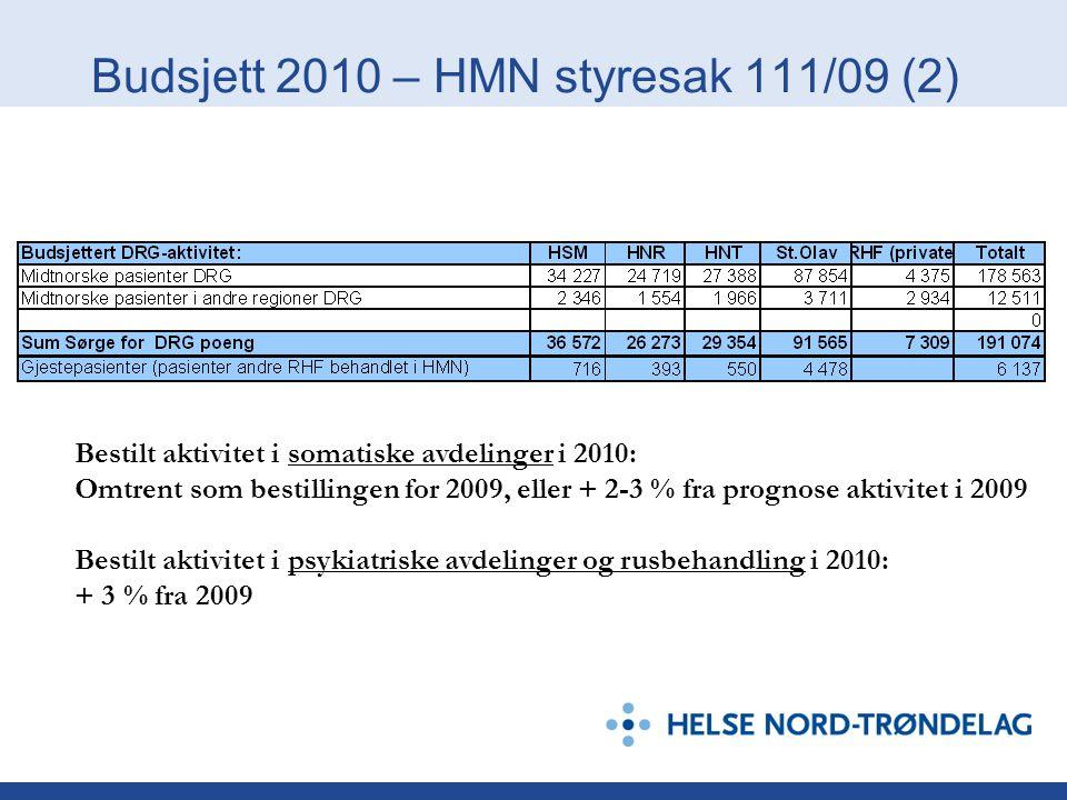 Budsjett 2010 – HMN styresak 111/09 (2)
