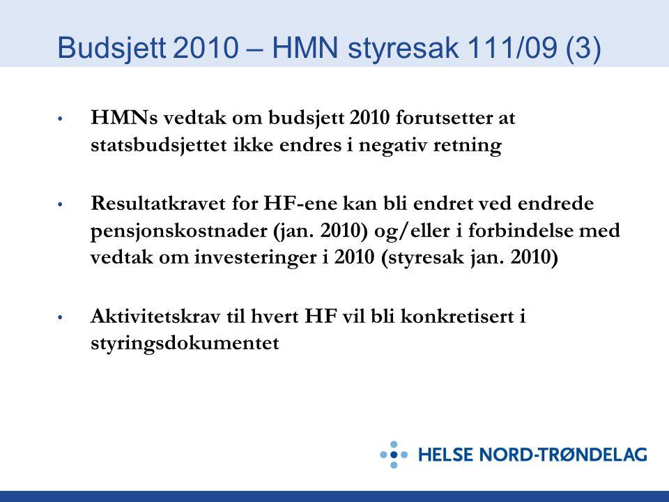 Budsjett 2010 – HMN styresak 111/09 (3)