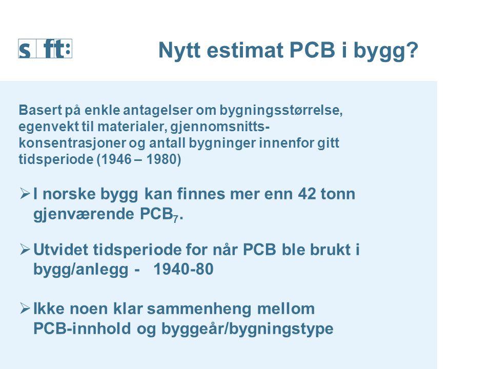 Nytt estimat PCB i bygg Basert på enkle antagelser om bygningsstørrelse, egenvekt til materialer, gjennomsnitts-