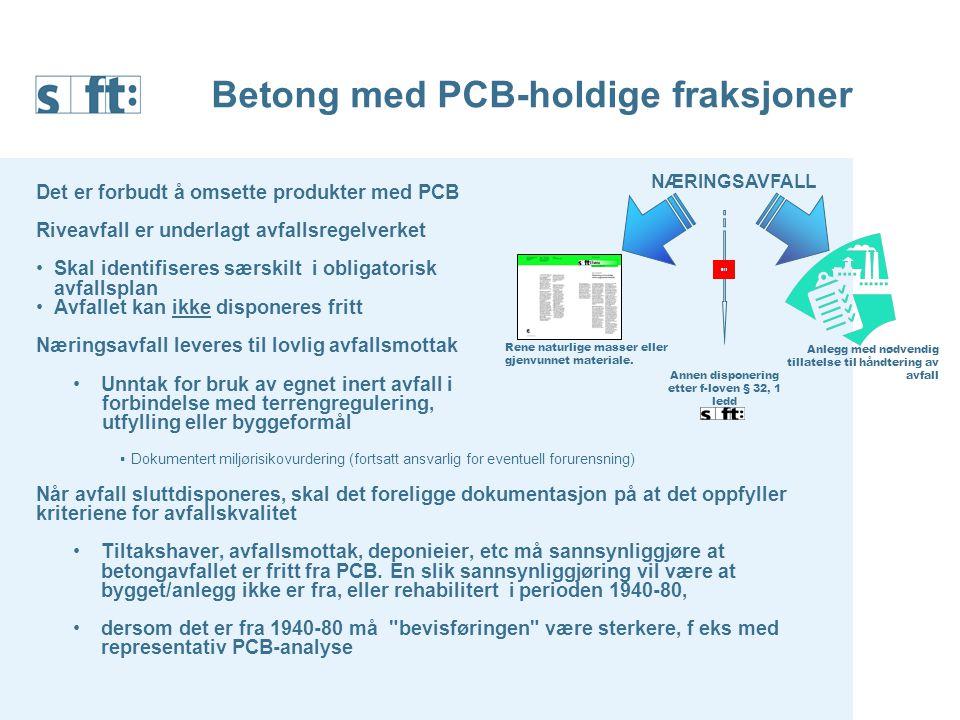 Betong med PCB-holdige fraksjoner