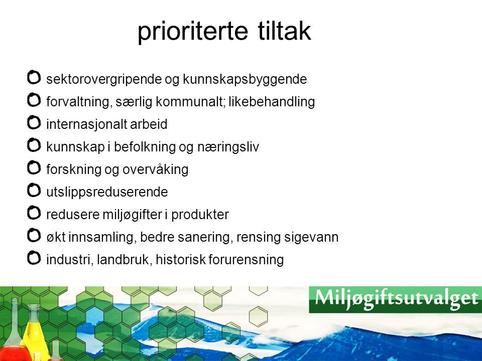 prioriterte tiltak sektorovergripende og kunnskapsbyggende
