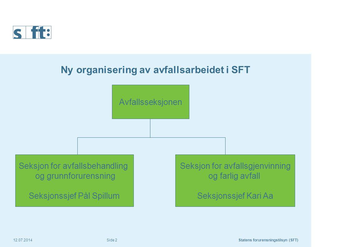 Ny organisering av avfallsarbeidet i SFT