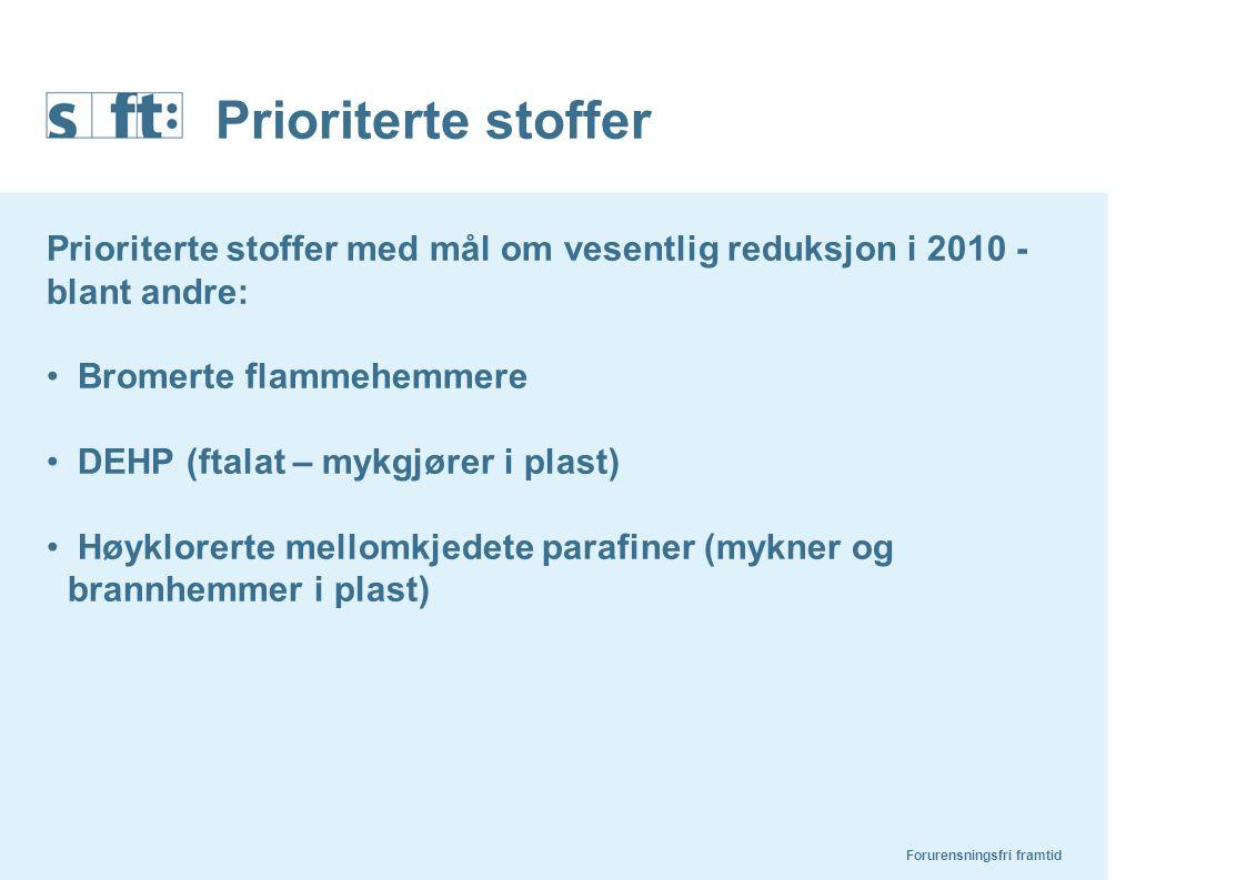Prioriterte stoffer Prioriterte stoffer med mål om vesentlig reduksjon i 2010 - blant andre: Bromerte flammehemmere.