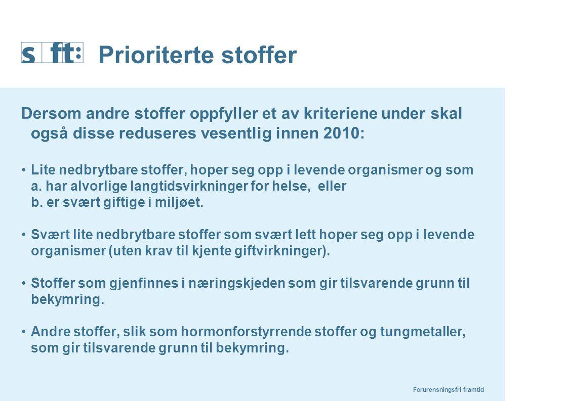 Prioriterte stoffer Dersom andre stoffer oppfyller et av kriteriene under skal også disse reduseres vesentlig innen 2010:
