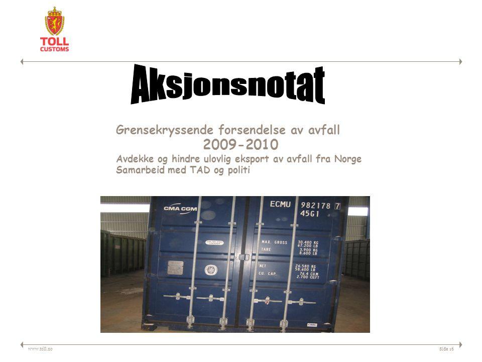 Aksjonsnotat 2009-2010 Grensekryssende forsendelse av avfall