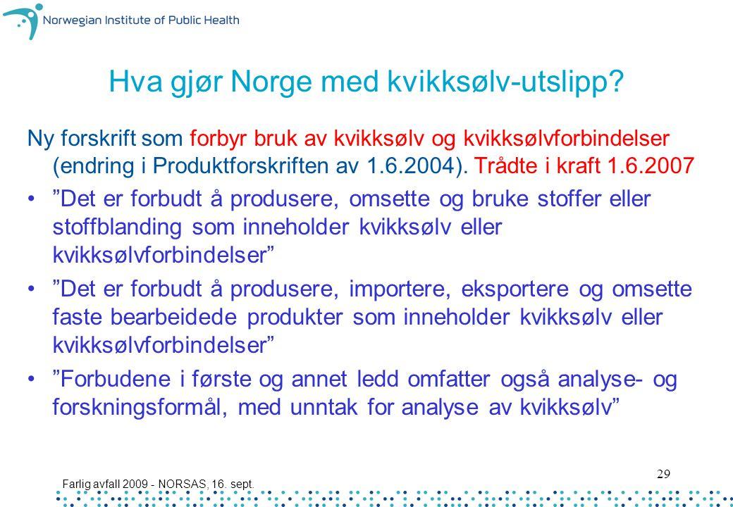 Hva gjør Norge med kvikksølv-utslipp