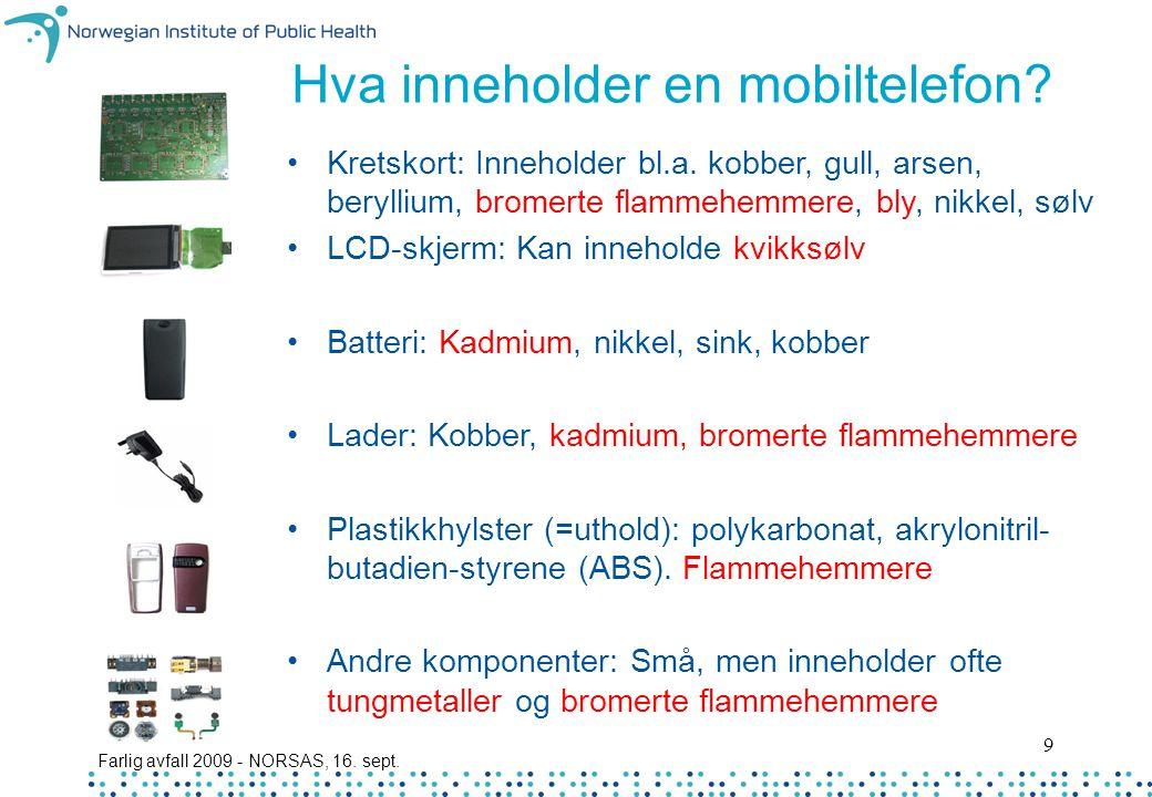 Hva inneholder en mobiltelefon