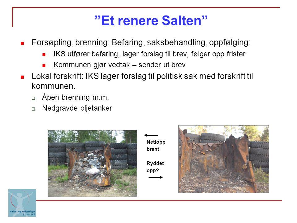Et renere Salten Forsøpling, brenning: Befaring, saksbehandling, oppfølging: IKS utfører befaring, lager forslag til brev, følger opp frister.