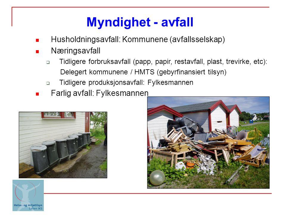 Myndighet - avfall Husholdningsavfall: Kommunene (avfallsselskap)