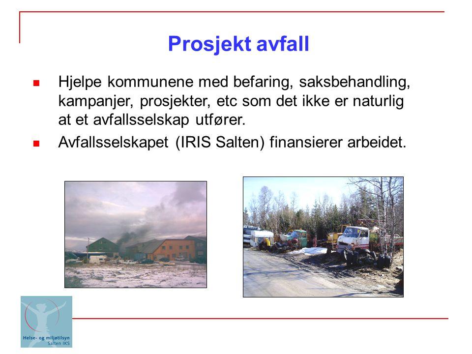 Prosjekt avfall Hjelpe kommunene med befaring, saksbehandling, kampanjer, prosjekter, etc som det ikke er naturlig at et avfallsselskap utfører.