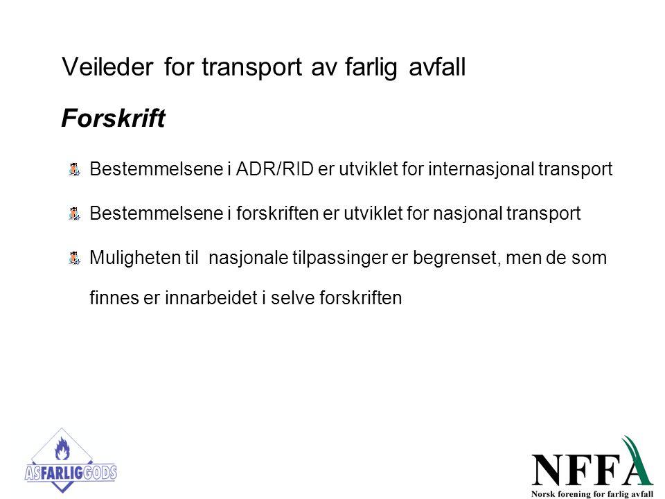 Veileder for transport av farlig avfall