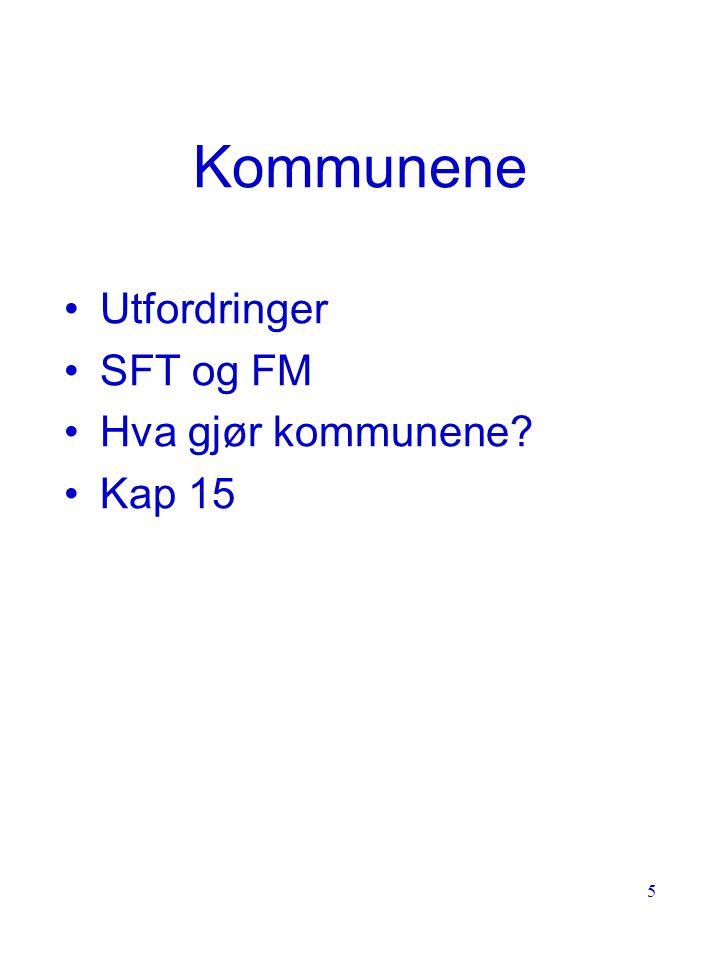 Kommunene Utfordringer SFT og FM Hva gjør kommunene Kap 15