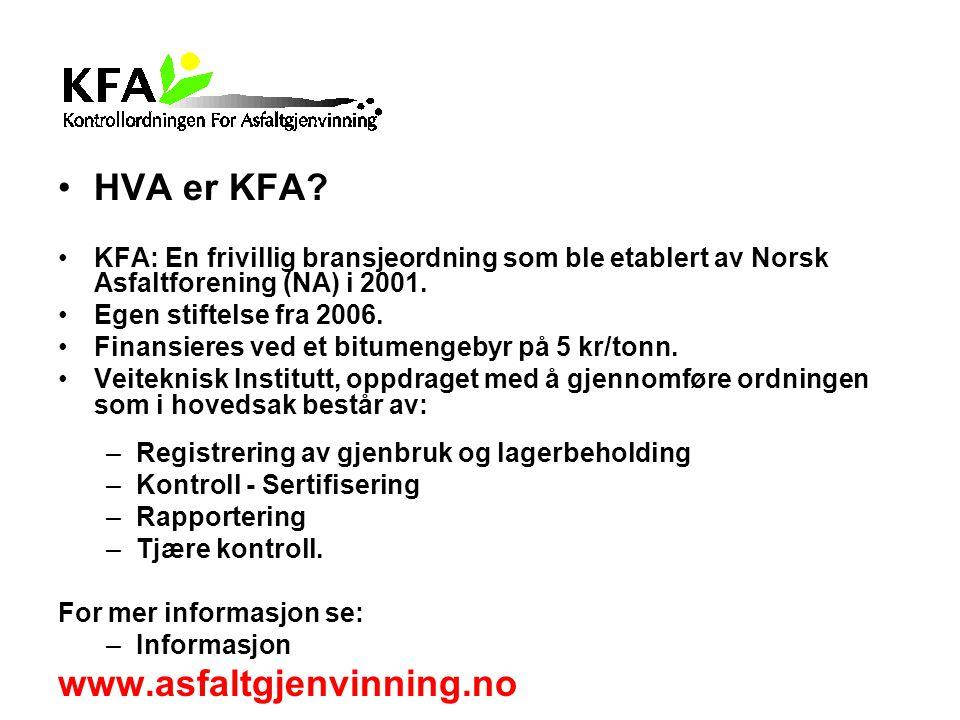 HVA er KFA www.asfaltgjenvinning.no