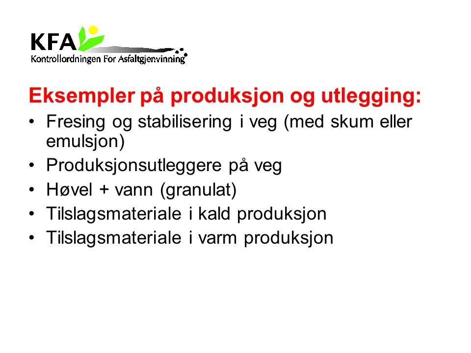 Eksempler på produksjon og utlegging: