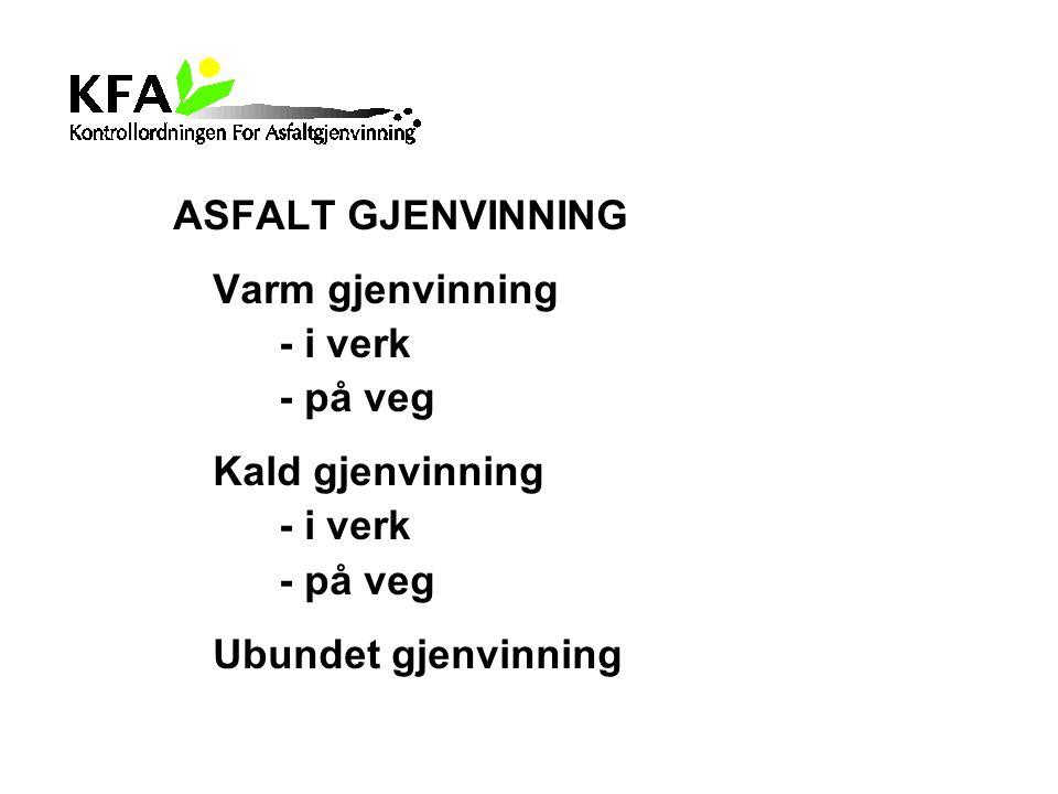 ASFALT GJENVINNING Varm gjenvinning - i verk - på veg Kald gjenvinning Ubundet gjenvinning