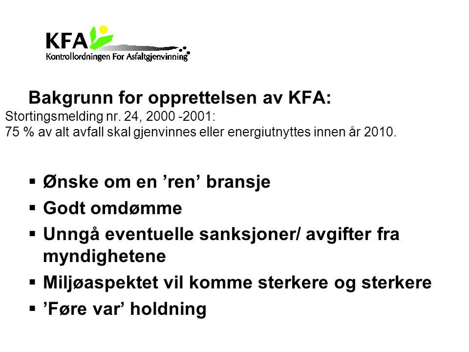 Bakgrunn for opprettelsen av KFA: