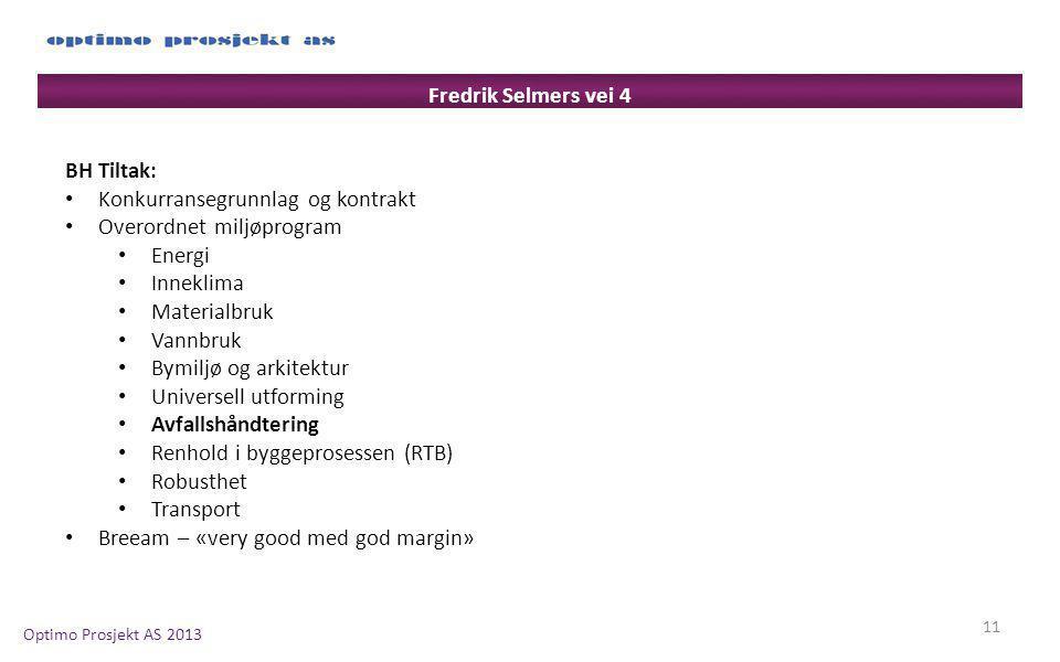 Fredrik Selmers vei 4 BH Tiltak: Konkurransegrunnlag og kontrakt. Overordnet miljøprogram. Energi.