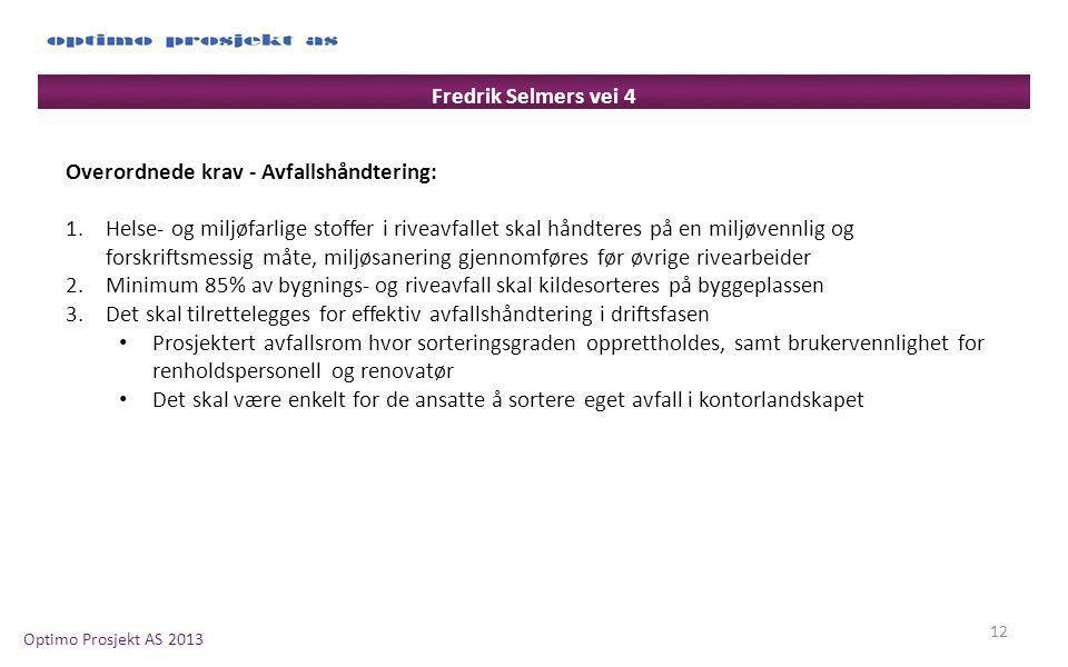 Fredrik Selmers vei 4 Overordnede krav - Avfallshåndtering: