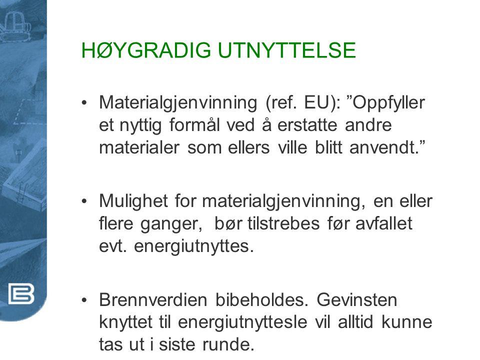HØYGRADIG UTNYTTELSE Materialgjenvinning (ref. EU): Oppfyller et nyttig formål ved å erstatte andre materialer som ellers ville blitt anvendt.