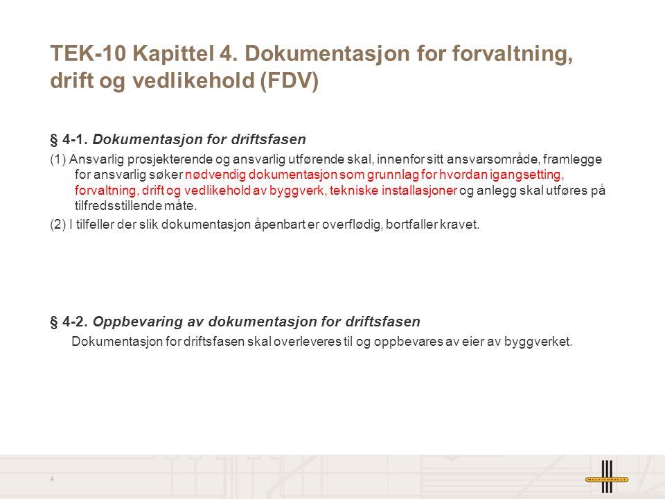 TEK-10 Kapittel 4. Dokumentasjon for forvaltning, drift og vedlikehold (FDV)