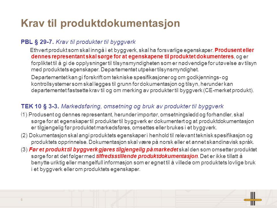 Krav til produktdokumentasjon