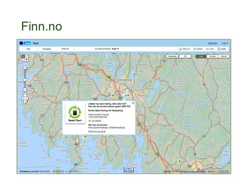 Finn.no Returpunkter fra sorteres database vises i finn-kartet. Om lag 45 000 klikk i mnd.