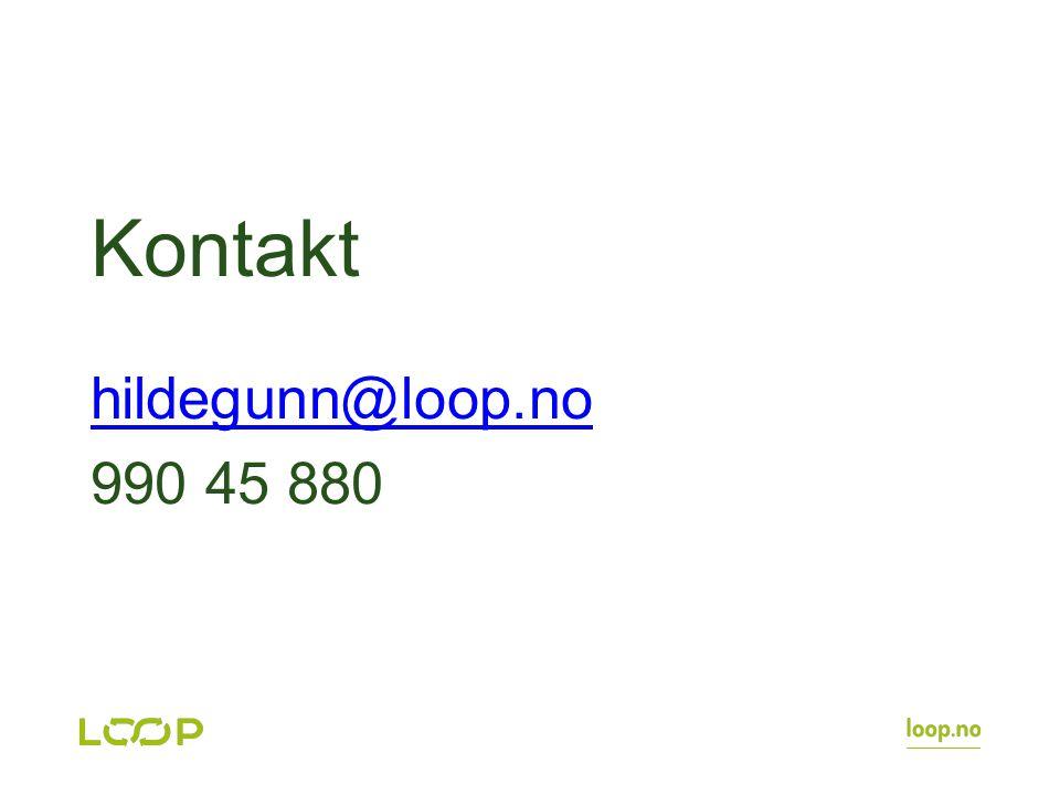 Kontakt hildegunn@loop.no 990 45 880