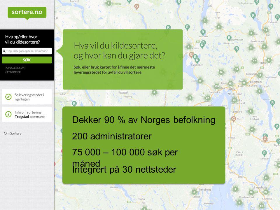 Dekker 90 % av Norges befolkning