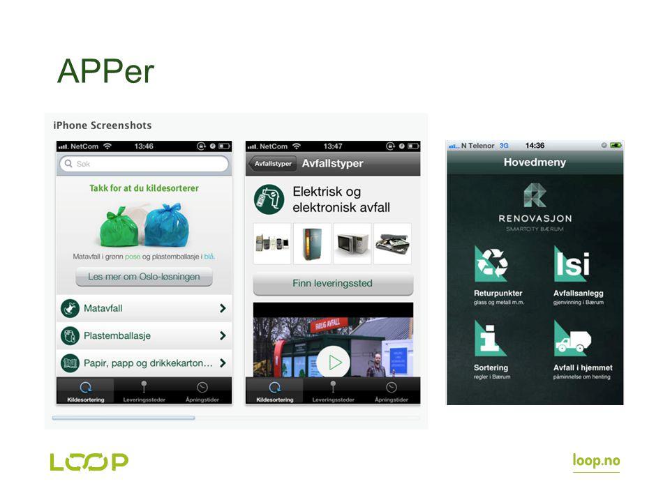 APPer Flere apper henter informasjon fra sorteres database. Oslo, Bærum og Asker er noen eksempler.