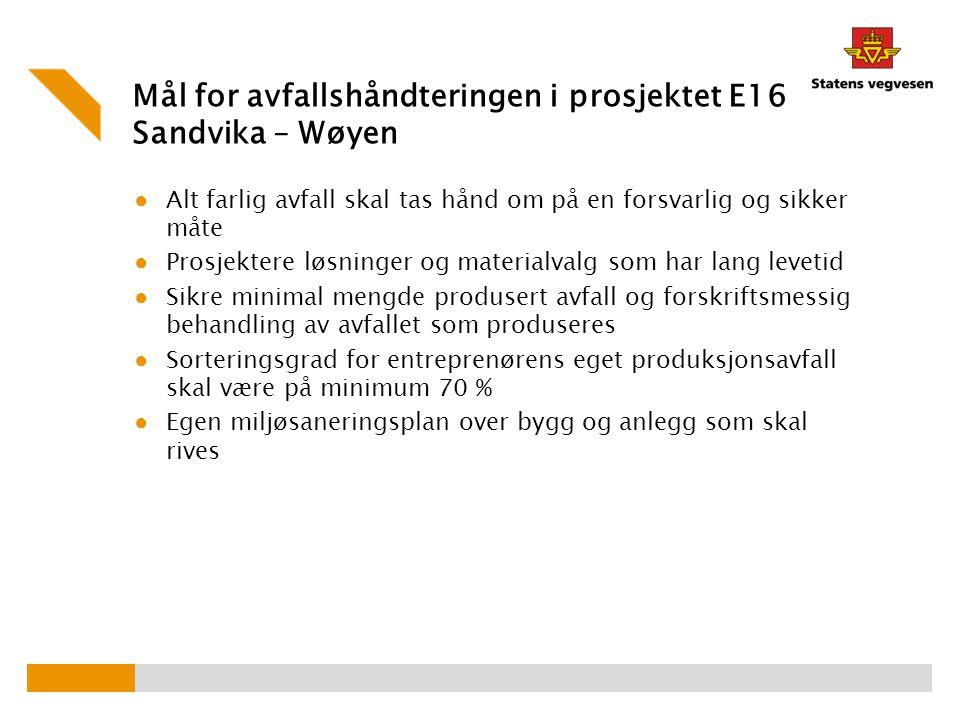 Mål for avfallshåndteringen i prosjektet E16 Sandvika – Wøyen