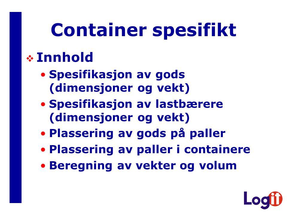 Container spesifikt Innhold