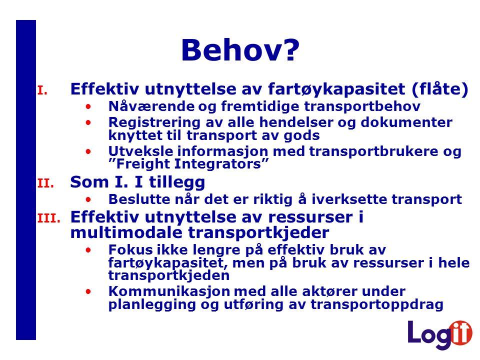 Behov Effektiv utnyttelse av fartøykapasitet (flåte) Som I. I tillegg