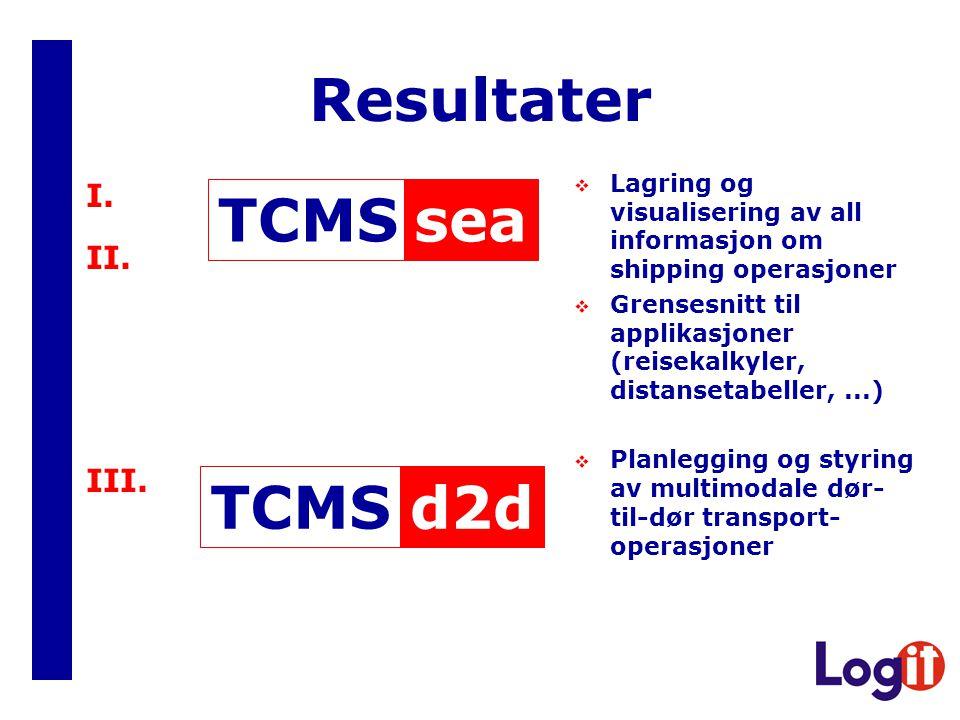 Resultater sea TCMS d2d TCMS