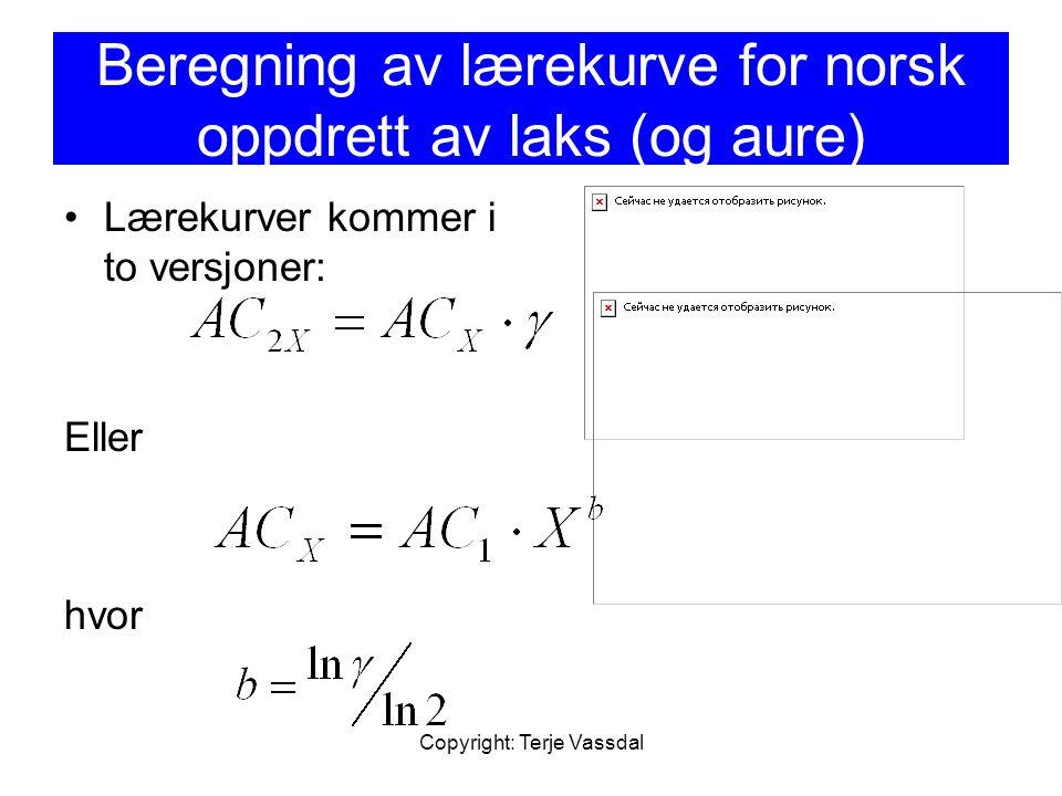 Beregning av lærekurve for norsk oppdrett av laks (og aure)